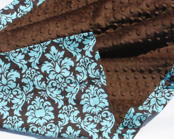 CLEARANCE SALE and Ready to Ship- Minky Baby Blanket -  Michael Miller Spa Dandy Damask with Chocolate Brown Minky for your Babyl