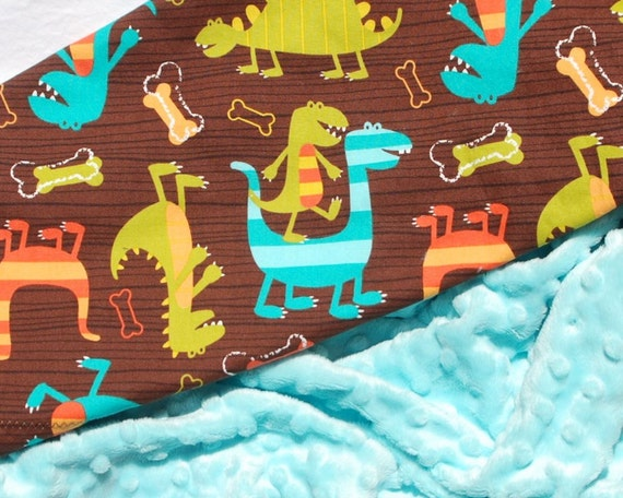 READY TO SHIP 3 Dollars Off - Baby Boy Blanket - Michael Miller Dino Dudes with Jade Green Minky for your Baby Boy
