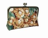 Clutch bag with gorgeous flowers design, floral, brown flowers with green leaves, and pink, lilac flowers, party purse