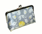 SALE Clutch bag in silver silk with yellow flowers and white leaves, wedding accessory