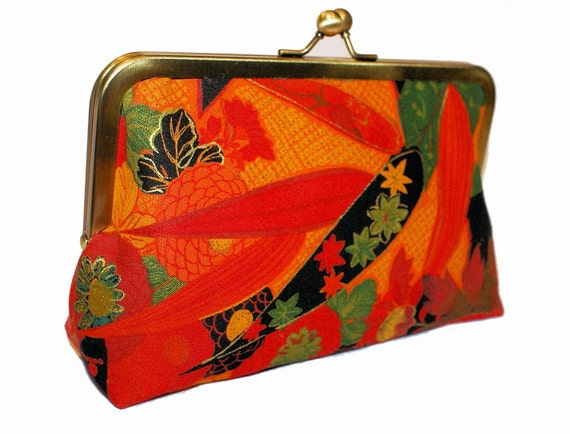 Beautifull leaves clutch purse, rich colors red, black, orange, green, party accessory