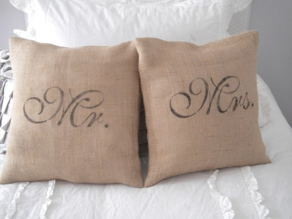 Set of Mr. and Mrs. Burlap Pillow Covers