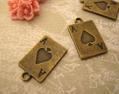 10pc retro Antiqued Brass Plated Poker A charms Metal Pendants  (BBCDD)