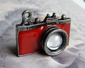 3pc Red Antique Tibetan silver metal Camera Charms for necklace/ bracelet