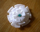 White Felt Flower Barrette with Turquoise Beads