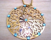 March Birthstone - Filigree gold plated mandala pendant with aquamarine swarovski crystals