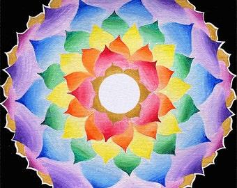 The crown chakra, Lotus mandala  -Fine Art Signed Print