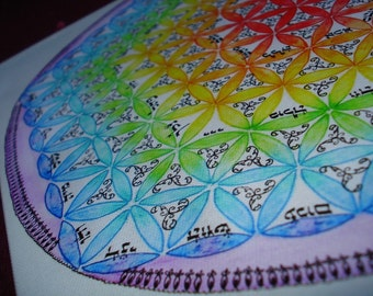 Mandala with the flower of life, rainbow colors  and hebrew calligraphy of 72 names of god -Fine Art Signed Print
