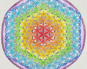 The Flower Of Life Mandala - Fine Art Signed Print - Mandalamagic1 Original Mandala Art - Rainblow Art - Colorful Art