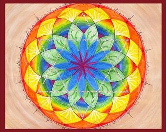 Relationship Mandala - Fine Art Signed Print - Mandalamagic1 Original Mandala Art - Rainbow Art - Colorful Art - Home Decor - Wall Art
