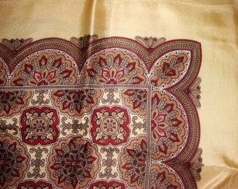 vintage ornate burgundy and gold scarf shawl