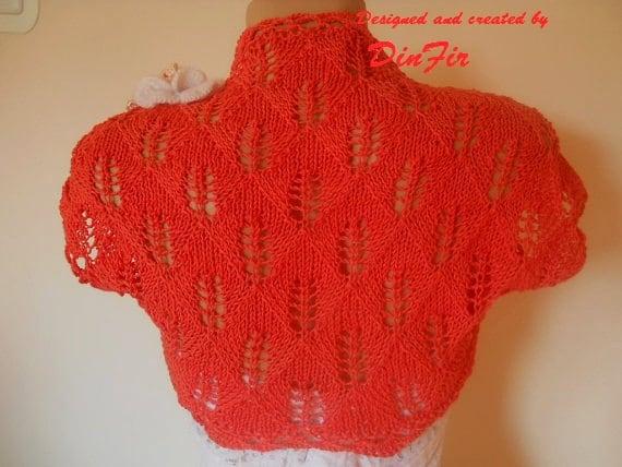 COTTON BOLERO SHRUG / Wedding Accessories Jacket Cardigan Crocheted Cape Gift Ideas / Women Hand Knitted Elegant Vest Chic Capelet Brooch