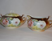 R S Tillowitz Hand Painted Porcelain Sugar and Creamer Set