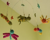 nursery mobile- knitted bugs