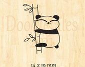 Climbing panda rubber stamp