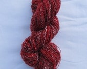 Handspun Yarn - Red and Black Merino with White Mohair 2ply (222 yrds)