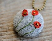 Woodland Holiday Poppy Necklace, gray wool with red embroidered flowers,