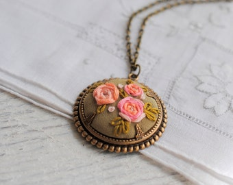 Rose Necklace, hand embroidered pendant, ombre pink gold silk