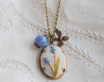 Hyacinth Necklace, Spring Garden Jewelry, Spring fashion, linen jewelry, eco friendly