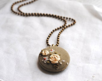 Champagne Floral  Necklace, Cottage Chic, embroidered pendant, gold metallic, recycled vintage silk
