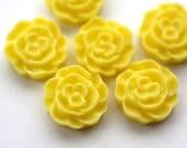 6 pcs Canary Yellow Mini Ruffled Rose Cabochons 12mm