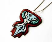 Handpainted Custom Cut Upcycled/Recycled Modern Design Inspired Necklace in Red and Sky Blue