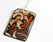 Large, Modern, Rectangular & Bold Vintage Egyptian Movie Poster Inspired Mixed Media Upcycled Necklace