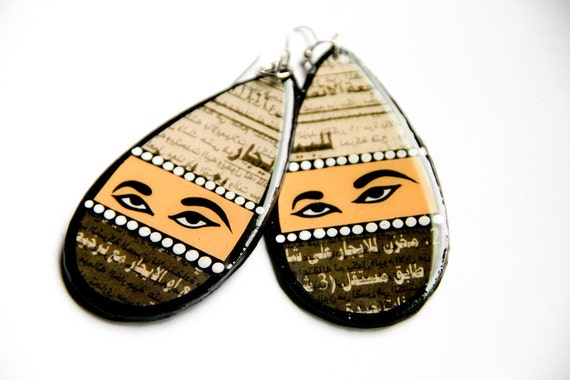 """Large Teardrop Shaped Modern, Bold & Female Vision Inspired Upcycled """"Al-Quds"""" Palestinian Newspaper Mixed Media Earrings"""