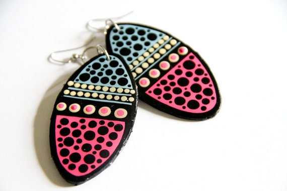 Modern Handpainted Oval Color Block Polkadotted Earrings in Sky Blue and Neon Pink