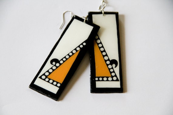 Long and Lean Handpainted Custom Rectangular Shaped Modern Color Block and Triangular Earrings in Bold Yellow and Black & White