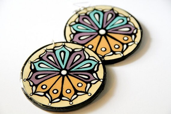 Large Handpainted Circular Modern Turkish Flower Blossom Inspired Earrings In Ivory, Aqua and Lavender.