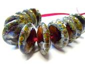 Jaipur, Set of 11 Lampwork Disk Beads, UK SRA