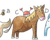 ABC - Animal Alphabet Print Signed Limited Edition Watercolor