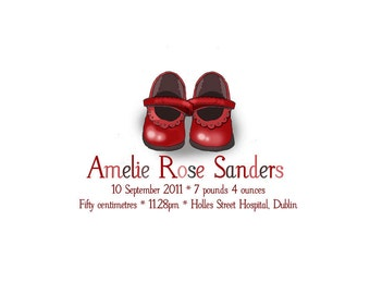 Baby Girl Birth Announcement Custom Keepsake Signed Print - Red Shoes