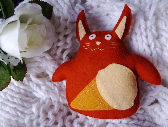 Bunny Plush with Ice Cream Cone Eco Friendly Toy for Kids Pumpkin Orange