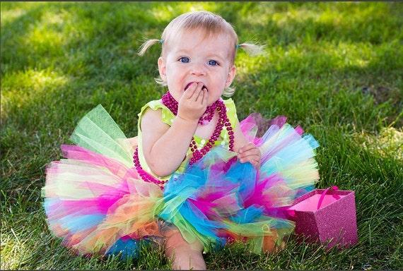 BIRTHDAY RAINBOW  tutu ...newborn tutu, baby tutu...birthday tutu, photography prop, newborn tutu, baby tutu and headband