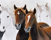 MUSTANGS - 11 x 14 Fine Art Giclee Print, horses, equestrian