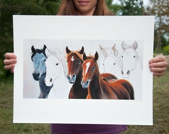 "Wild Horses Large Fine Art Giclee 16"" x 20"" Print 'Mustangs' - equestrian"