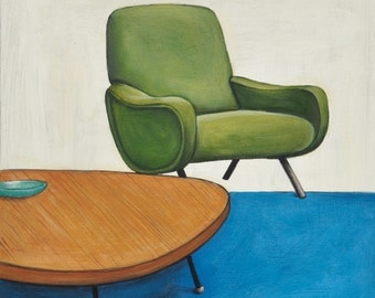 Midcentury Chair Print, Midcentury Modern Print, Green Lady Chair, 8 x 8 Art Print, Square Art Print, Vintage Chair Art, Chair Wall Art,