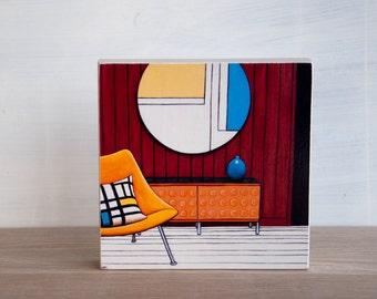 Midcentury Chair Art Block - 'Mondrian Room'