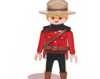 Canadian Mountie Print, Playmobil Toy Art, Kids Wall Decor, Mountie Wall Art, Boys Room Art, Childrens Art Print, Nursery Art Print, 8x10