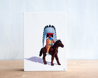 Toy Wall Art, Playmobil Indian Chief, Playmobil Art Block, Collectible Toy Art, Kids Room Decor, Boys Room Art, Childrens Art, Nursery Decor