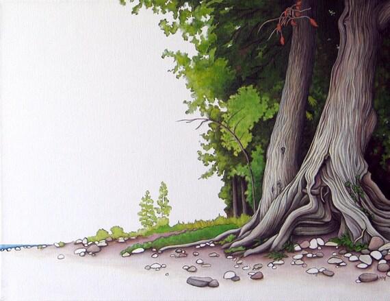 8 x 10 Fine Art Giclee Print - 'Gone Camping - Beach Cedars'