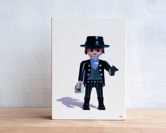 Playmobil Bank Robber Toy Art Block by Mara Minuzzo
