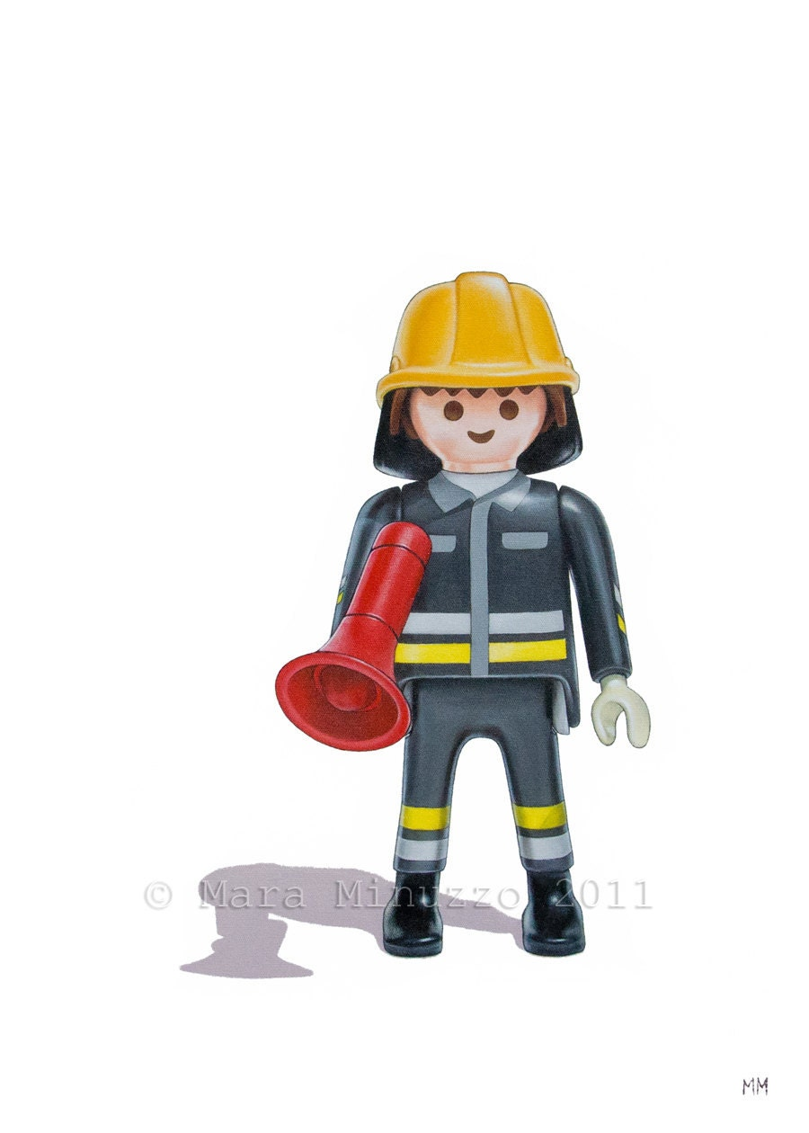kids room art playmobil fireman print toy art print boys
