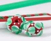 Christmas garden flowers (2) Handmade Lampwork beads SRA