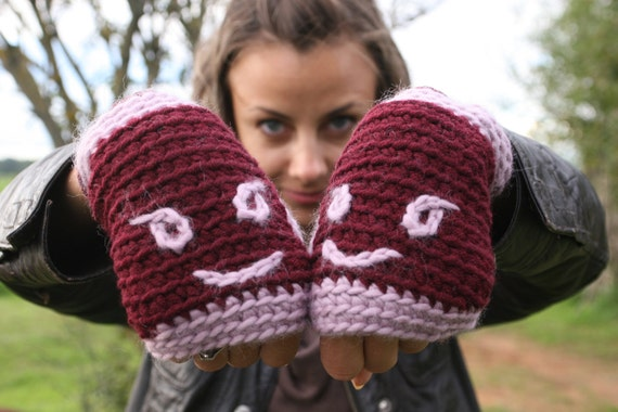 """Crochet Fingerless Gloves - Half finger - Arm Warmers  """"WARMY"""" With Smiley - Cute gloves - Winter - Accessories - Special - Gift - Holidays"""