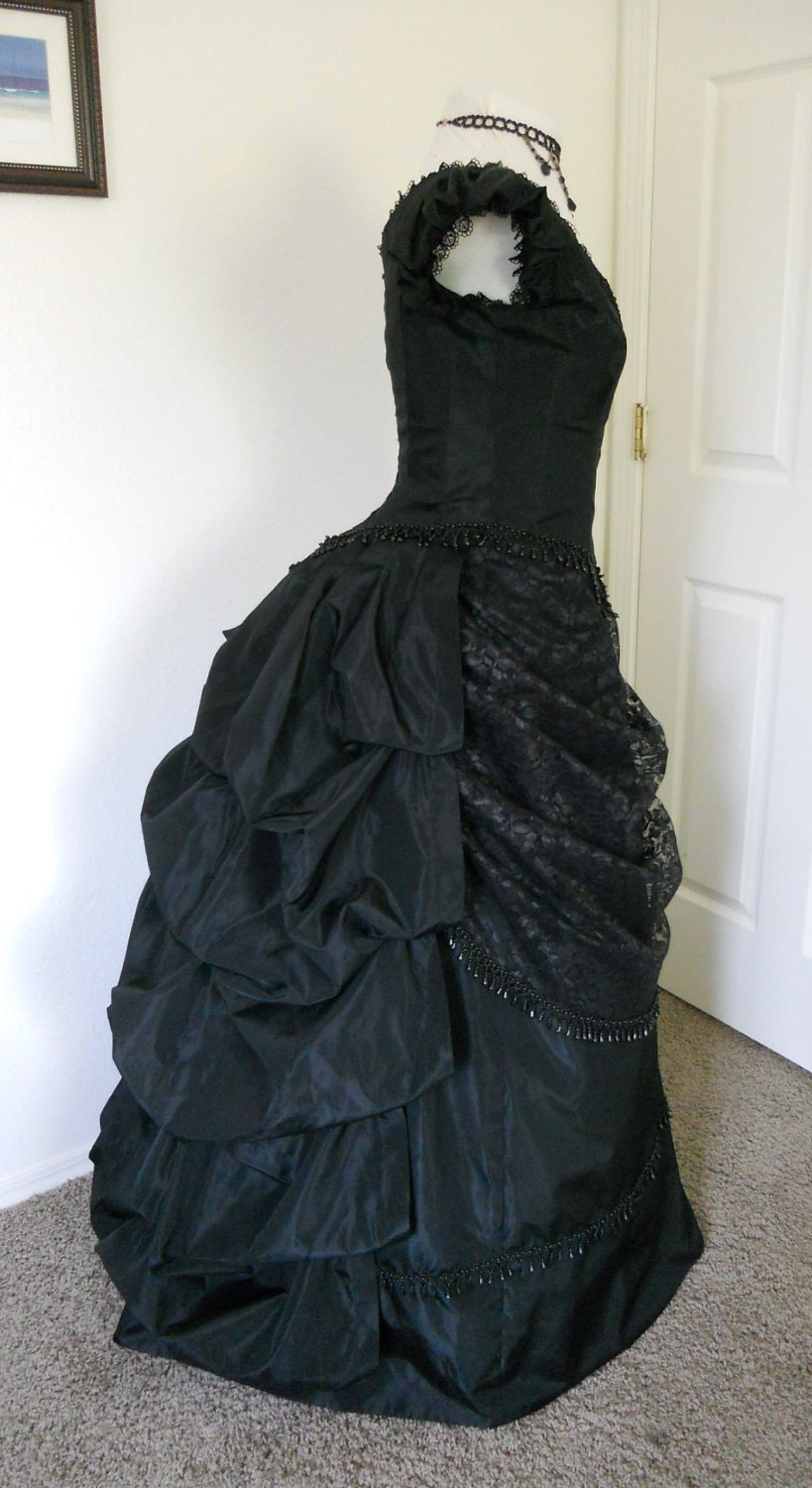 Victorian Gothic Bustle Style Ball Gown In Black Taffeta