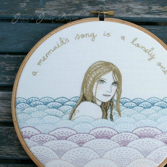 "Embroidery Hoop Art.'A Mermaid's Song' - textile artwork .pastel shades.8"" hoop.hand embroidered."