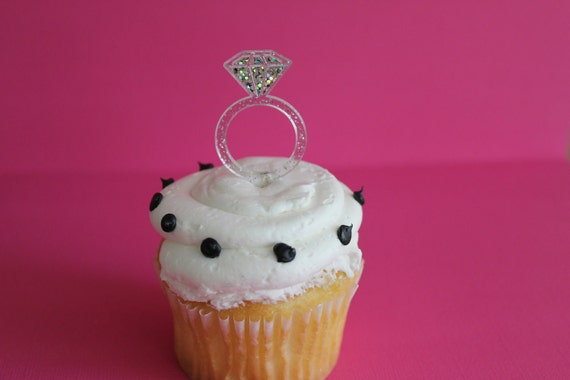 24 Glitter Diamond Ring Cupcake Topper Picks